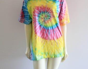 Rad Psychedelic 90's Vintage Neon Tie-Dye Oversize Shirt