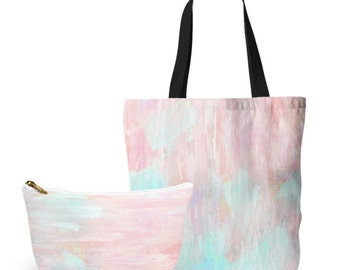 Pastel Tote Bag, Cosmetic Bag, Tote and makeup bag set, gifts for her, Accessory Pouch, Pink Aqua