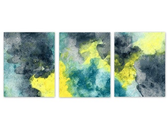 Abstract wall art, Watercolor wall decor, Navy Yellow Teal, Canvas or Print Option, Home Decor, 5x7 8x10  UNFRAMED