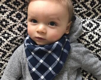 Navy Blue Plaid Bandana Baby Scarf - Plaid Baby Scarf - Baby Bandana Scarf - Winter Baby Scarf - Baby Boy Scarf - Baby Girl Scarf - Bandana