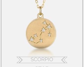 Scorpio necklace, scorpio zodiac constellation necklace, 14k gold diamond, star constellation necklace, personalized necklace,sc-n101