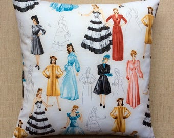 Glamour Girls Fabric Cushion By Robert Kaufman With Interior 40cmx40cm