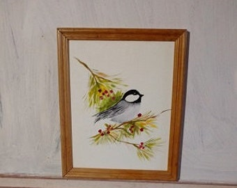 Chickadee art, black capped chickadee painting, framed bird art, bird decor,painting of chickadee, bird lover