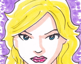 """Supergirl Superman ACEO trading card2 1/2"""" x 3 1/2"""""""