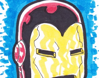 """Iron Man Avengers ACEO trading card 2 1/2"""" x 3 1/2"""""""