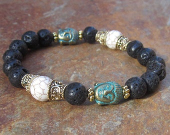 mens beaded bracelet lava stone bracelet buddha bohemian bracelet  women's boho stretch stacking yoga bracelet mala bracelet buddha for men