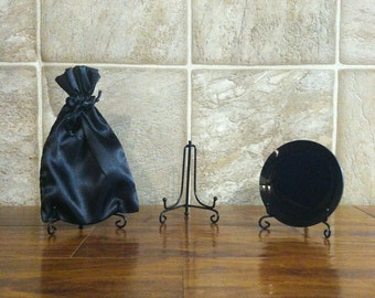 Medium Size Concave Black Glass Scrying Mirror with Pouch and Stand - size varies