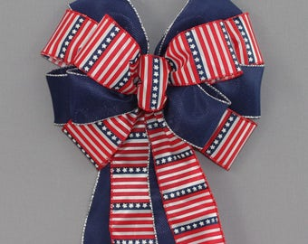 Stars Stripes Patriotic Wreath Bow - 4th of July Decoration,  Red White Blue Wreath Bows
