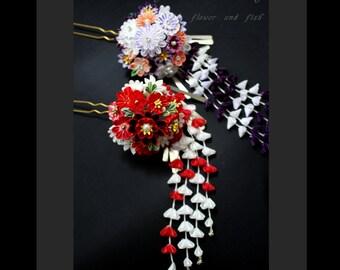 hair accessory, geisha bridal flower fork- bridal hair pin, wedding hair pin, bridal hair flower, wedding Headpiece, wedding hair pins-B03