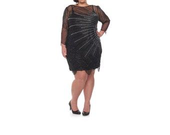 US22 UK26 AUS26 EU54 Plus Size Black Catherine silver Flapper Dress with sleeves 20s Great Gatsby Charleston Downton Abbey Bridesmaid Beaded