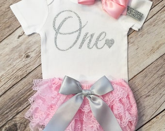 Silver Pink Birthday, Birthday Bodysuit, Birthday Shirt,First Birthday Outfit Girl First Birthday Shirt, One Year Old Shirt