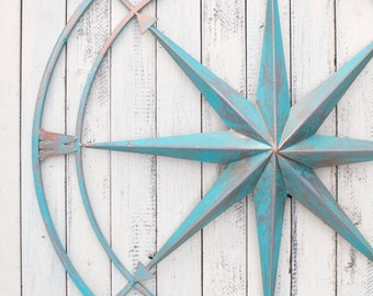 Nautical Compass, Metal Compass Wall Decor, Metal Wall Art, Beach Decor, Wall Compass Decor, Metal Wall Compass, Beach Wall Art, Compass Art
