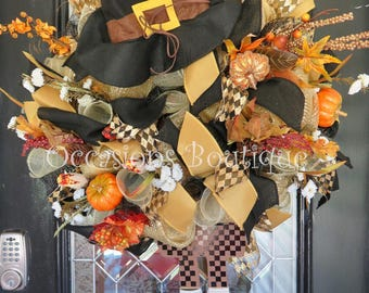 Fall Wreath, Autumn Wreath, Door Hanger, Large Wreath, Outdoor Wreath, Wreath for Door, Pilgrim decor, Thanksgiving Decor