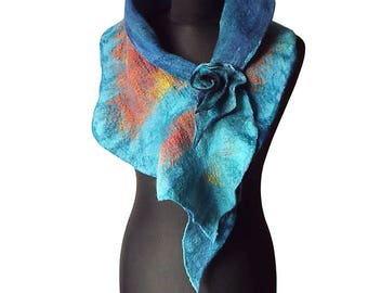 Felted collar colorful felt scarf felted shawl colorful art to wear for her collar with felted brooch summer women's gift OOAK