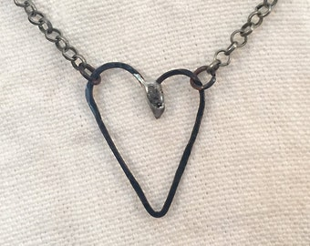 Forged Metal Heart Necklace