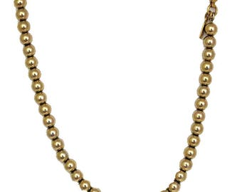 Vtg Monet Necklace Bead Goldtone Strung on Tiny Chain