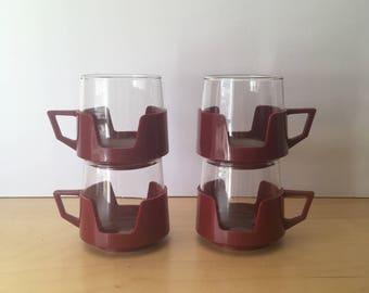 Set of 4 Vintage- JAJ Pyrex Drink Up Cups- Maroon