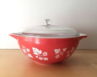 Vintage- JAJ Pyrex- Red Gooseberry Cinderella Bowl and Lid