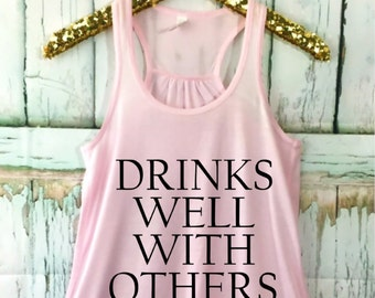 Drinks Well With Others FLOWY Racerback Tank Top, XS-2XL, Customize Your Colors, Yoga, Funny Tank Top, Drinking Tank Top, St Patrick's Day