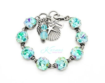 SEAFOAM 12mm Cushion Cut Pendant Bracelet Made With Swarovski Crystal *Pick Your Finish *Karnas Design Studio *Free Shipping*