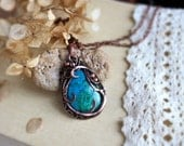 Rare Stone pendant Chrysocolla pendant Wirewrap pendant Gift for wife Healing Crystals necklace Art nouveau pendant Chrysocoĺla jewelry