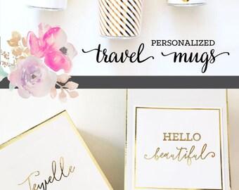 Coffee Tumbler Insulated Tumbler Mug Cups Personalized Coffee Gifts for Coffee Lovers Gift Coffee Tumblr Monogram Coffee Travel Mug (EB3135)