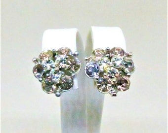 Rhinestone Earrings - Vintage, Bogoff Signed, Silver Tone, Clear and Champagne Colors, Clip on