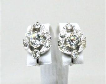 Rhinestone Earrings - Vintage, Bogoff Signed, Silver Tone, Clear Rhinestones, Screw Back