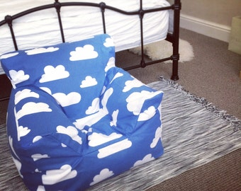 FILLED Swedish Blue Clouds Funky Bean Bag Chair For Boys And Girls Aged 0