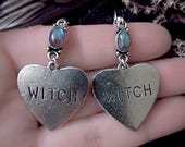 Witch Love Earrings, Labradorite Earrings, Labradorite Heart, Witchy, Witch Charm