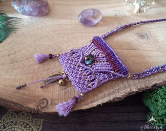 Medicine Bag Lilac Micro Macrame and brass