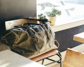 Waxed Canvas Holdall   Bag with Brown Leather   Waxed Overnight Bag  Weekend  Bag  Vintage Backpack  Backpack