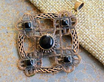 Bronze Celtic Cross Pendant, Onyx Celtic Cross, Antiqued Bronzed, Celtic Pendants, Onyx Pendant, Bronze Pendants, Cross Pendant, JH15-038