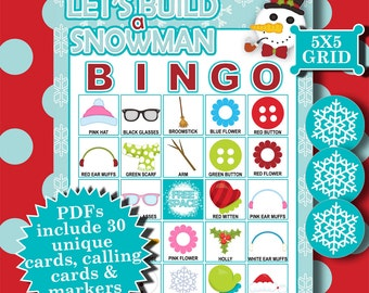 Let's Build a Snowman 5x5 Bingo printable PDFs contain everything you need to play Bingo.