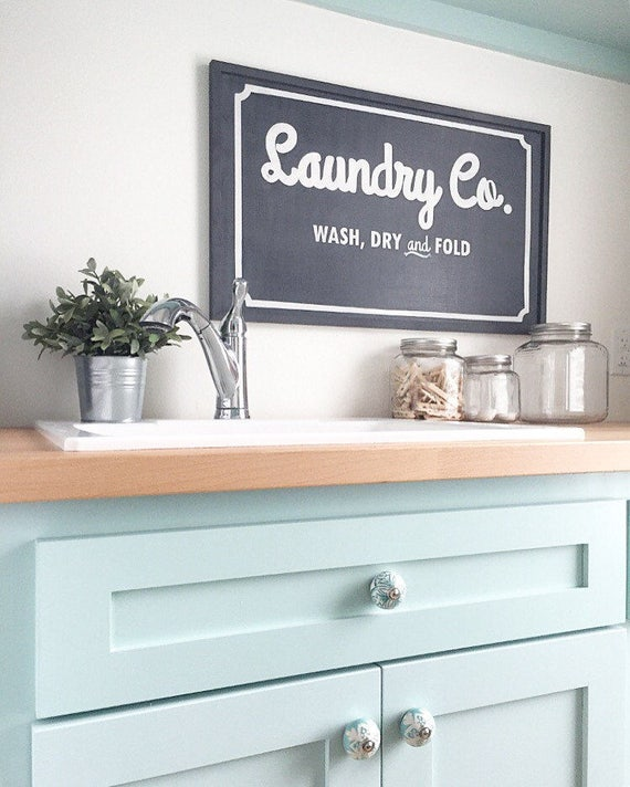 Laundry Sign - Vintage Laundry Co. Sign - Handmade Wood Laundry Sign