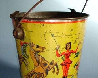 Vintage Tin Litho Small Sand Pail Circus Theme Yellow Red Silver