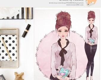 Watercolor Planner Girl Avatar. Premade Fashion Illustration. Handdrawn Artwork of a Brunette Haired Girl. Blog Icon Logo. Erin Condren.
