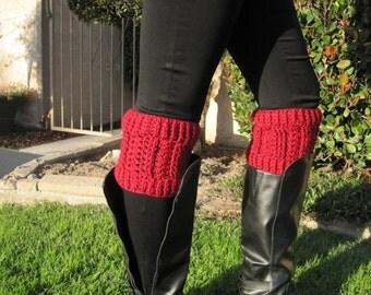 Merlot Boot Cuffs and Ear Warmer - Crochet Boot Toppers - Women's Leg Cuffs - Boot Socks - Merlot Only - One Size Fits Most