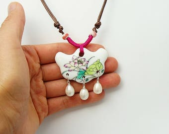 Ceramic Lotus Flower With Freshwater Pearls Necklace-Ceramic Jewelry-Lotus Jewelry-Flower Jewelry-Pearl Jewelry