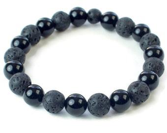 Lava Bead Bracelet,  Black Onyx Bracelet, Beaded Bracelet, Lava Rock  Bracelet, Essential oil bracelet, Diffuser Bracelet, Lava Stone