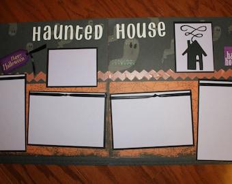 12 x 12 Halloween premade scrapbook layout Haunted House , Halloween premade 12 x 12 scrapbook pages, handmade scrapbook layouts