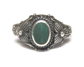 Vintage Floral Sterling Malachite Ring Size 6