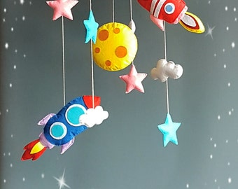Baby mobile Moon rocket mobile Cot mobile Solar system mobile New baby gift Space mobile Felt mobile Hanging mobile Nursery mobile