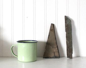 vtg mint green enamel camp cup // blue rimmed light green enamel cup // rustic camping coffee mug