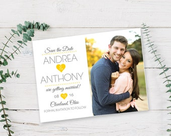 Simple Heart Photo Save the Date | Custom Design, Printed Cards or Printable PDF | Love Cute Wedding Couple Stationery