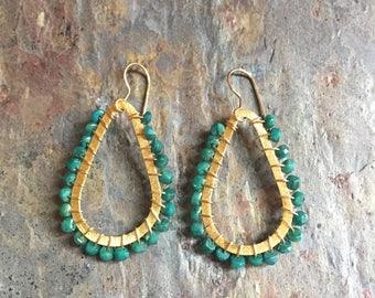 Emerald gemstone gold hoop statement earrings