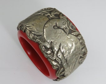 Vintage Tribal Ethnic Huge Silver Repousse Resin Bangle From Kathmandu Nepal.