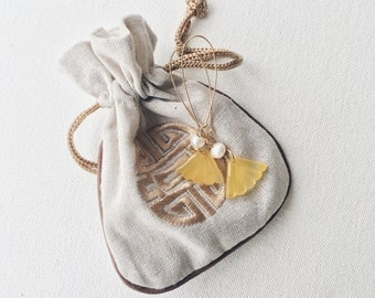 Yellow fan earrings, Chinese earrings, Yellow statement earrings, Asian earrings, Very long dangle earrings, Shoulder duster earrings