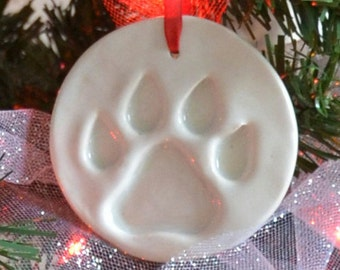 Pottery Ornaments – Circle with Paw Print