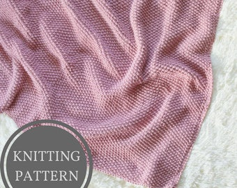 Seed Stitch Baby Blanket Knitting Pattern | Textured Baby Blanket Knit Pattern | Easy Knitting Pattern | Beginner Blanket Knitting Pattern